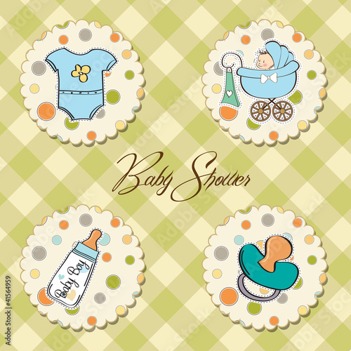 poster of new baby boy items set