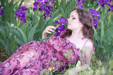 Beautiful woman in spring violet taffies
