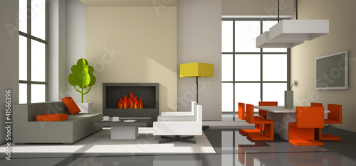 Fictitious interior of color paperboard