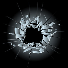 broken glass - bullet hole