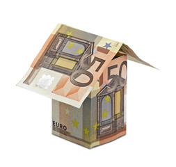 Three-dimensional house of euros banknotes