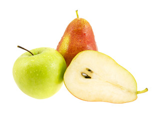 Fresh pears and green apple with drops the waters.