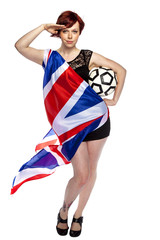 girl with the flag of england