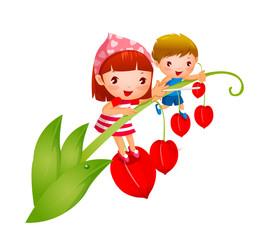 Boy and Girl on Bleeding Heart Bloom
