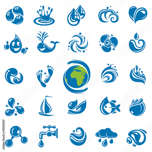 set of abstract waters icons
