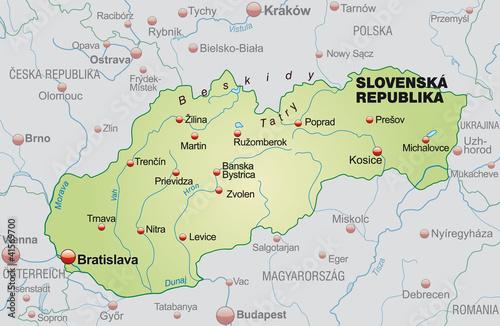 Slovakia Map Vector Map of Slovakia Neighboring