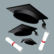 graduation cap diploma vector backgroun