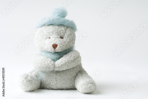 Teddy bear wearing hat, missing one eye