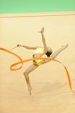 Fototapety rhythmic gymnastics with ribbon