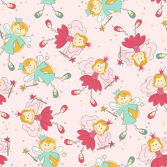 Seamless pattern with princess and fairy