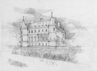 Crayon drawing of Rambouillet chateau, France