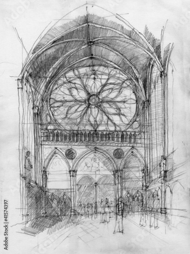 Crayon drawing of Saint Chapelle interior with rosette, Paris