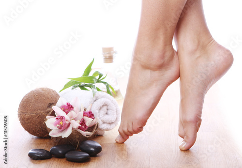 Beautiful legs and different spa items