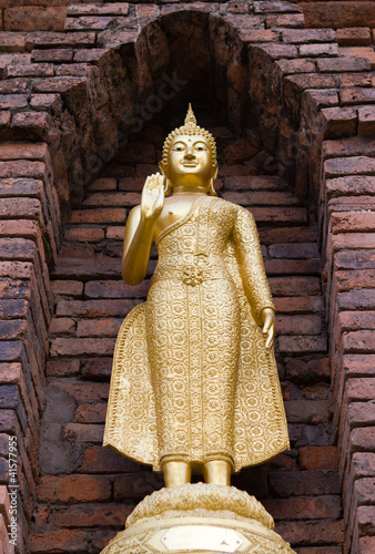 Golden buddha in  old pagoda
