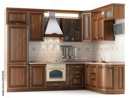 Beautiful kitchen furniture made of wood   isolated on white
