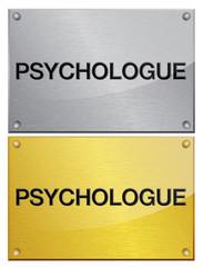 plaque en métal brossé doré : psychologue