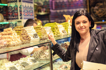 Girl in Istanbul candy shop