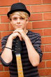 handsome teen musician portrait with guitar