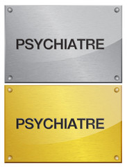 plaque en métal brossé doré : psychiatre