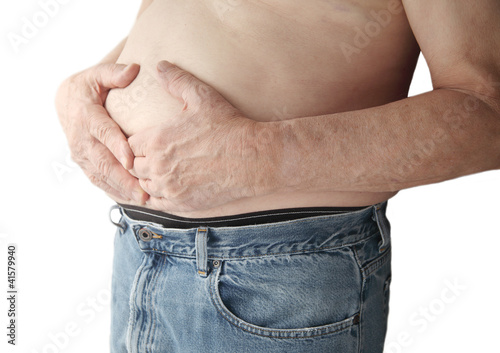 bare-chested man with stomach ache