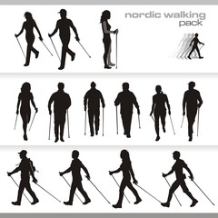 nordic walking vector silhouette