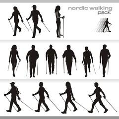 nordic walking vector silhouette