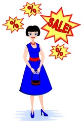 The woman dreams of discounts on sale