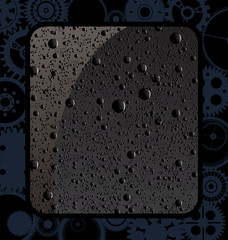 Abstract gear background with black water drops