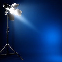 Studio photo flash light with beam of light.