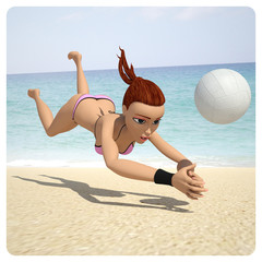 Girl playing in volleyball
