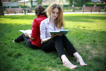 student learning in the park