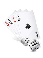 Casino dices and cards on white background