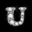 U letter with diamonds bling bling vector