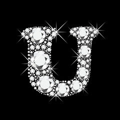 U letter with diamonds bling bling vector