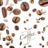 Fototapety Flying coffee beans, on white background (with sample text)