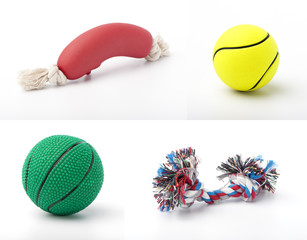 set of images with pet toys on white background