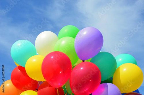 Color air balloon on blue sky background © Unkas Photo
