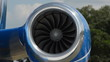 Jet engine closeup view of fan