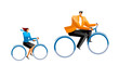 Businessman and Businesswoman riding on bicycle