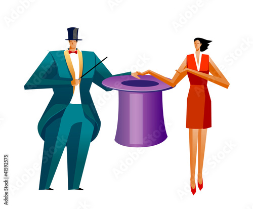 Businessman and Businesswoman showing magic