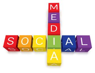 Vector colorful social media crossword puzzle blocks