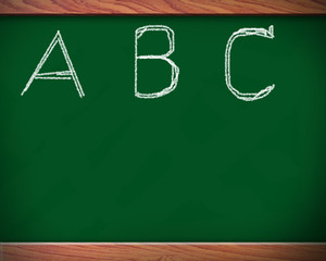 scribbled alphabet on the blackboard.