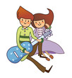Boy and Girl plying guitar