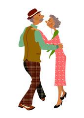 Senior adult dancing together
