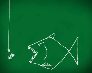 Hook the fish business. on a blackboard..