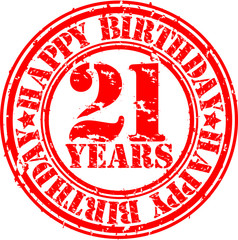 21 years happy birthday rubber stamp