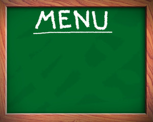 blank menu on blackboard
