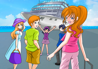 Cartoon illustration of people and a yacht