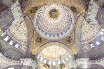 Decorated ceiling of Yeni Cami (New Mosque) in Istanbul, Turkey