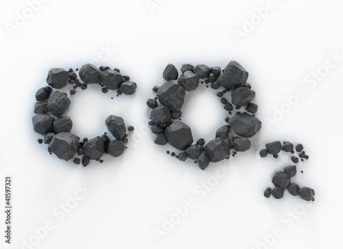 canvas print picture CO2 made out of lumps of coal
